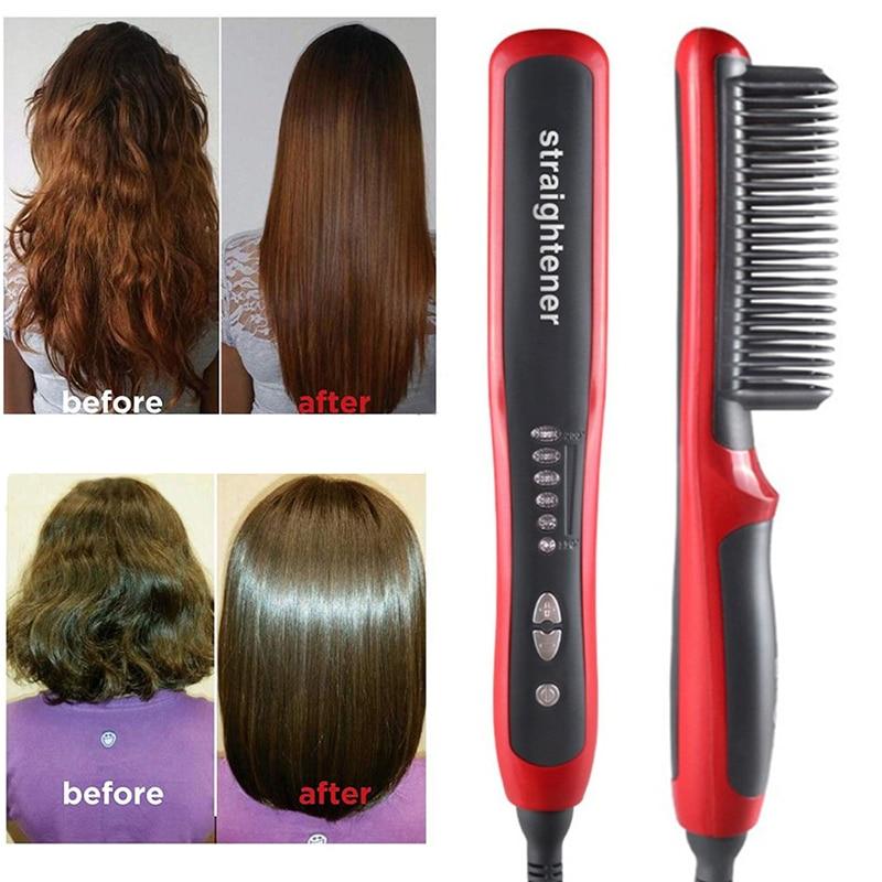 Multifunctional Beard Straightener Styler Brush Men Heat Hair Ceramic Curler Electric Straightener Hot Comb Hair Care Machine