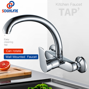 SOGNARE Kitchen Faucet Wall Mount Single Handle 360 Rotation Swivel Hot Cold Water Mixer Tap For Kitchen Sink torneira cozinha sognare chrome brass kitchen faucet 3 way water tap kitchen sink mixer tap 360 degree rotation dual handle torneira para cozinha