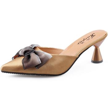 Buty damskie pantofle damskie 2020 letnie buty damskie szpiczasty nosek na cienkim obcasie Fashion Party damskie buty damskie sandały tanie i dobre opinie td-seven Cienkie obcasy CN (pochodzenie) RUBBER Wysoka (5 cm-8 cm) Pasuje prawda na wymiar weź swój normalny rozmiar