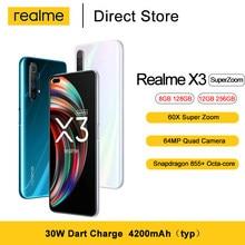 Realme için X3 Smartphone 6.6 ''Snapdragon 855 + sekiz çekirdekli 64MP Quad kamera 60X süper Zoom 4200mAh 30W Dart şarj cep telefonu