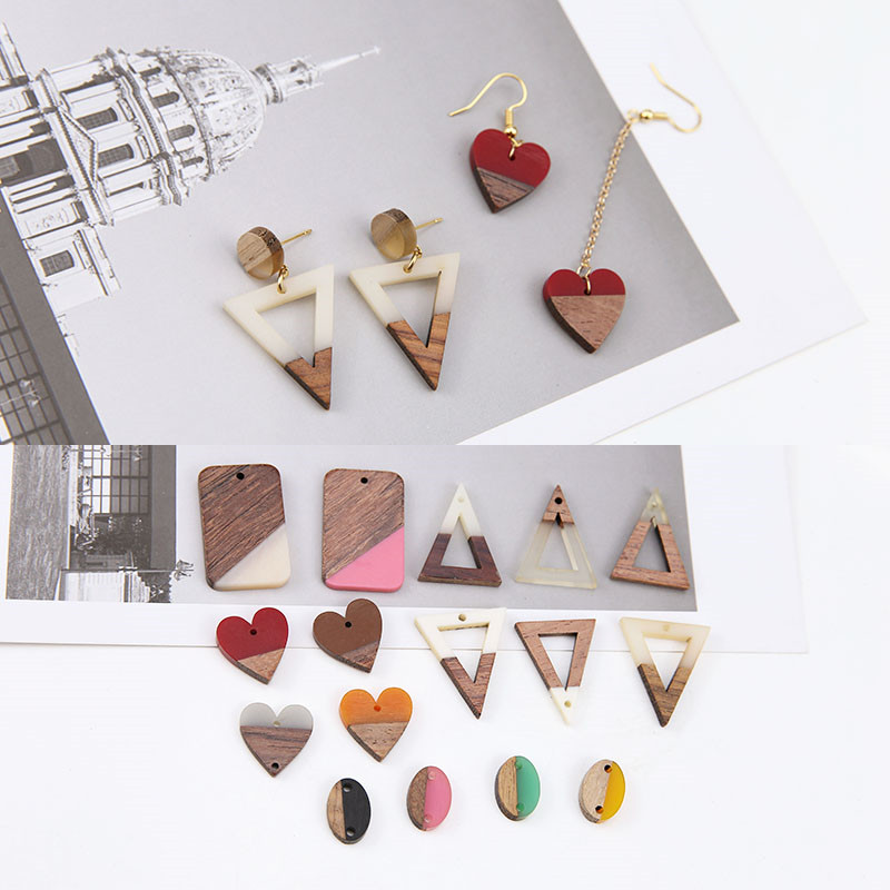 6pc 2020 Hot Sale Jewellery Simple Splicing Wood And Resin Triangle heart-shaped Oval Pendant Geometric Earrings Diy Accessories