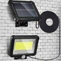 100LED солнечный светильник настенные лампы уличного освещения движения Сенсор Разделение Тип Водонепроницаемый садовая лампа на солнечной ...