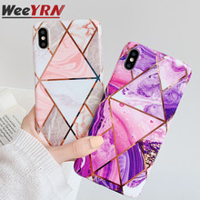 цена на Geometric Marble Phone Case For iPhone 7 8 6 6s plus Electroplated Soft TPU Tempered Glass Case For iPhone XR XS Max Back Cover