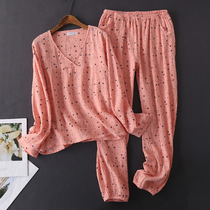 Women's Cotton Water-washed pajamas for women Pyjamas Sleepwear Pijamas Texture Crepe Gauze Long-sleeved Trousers Pajamas V-Neck 32