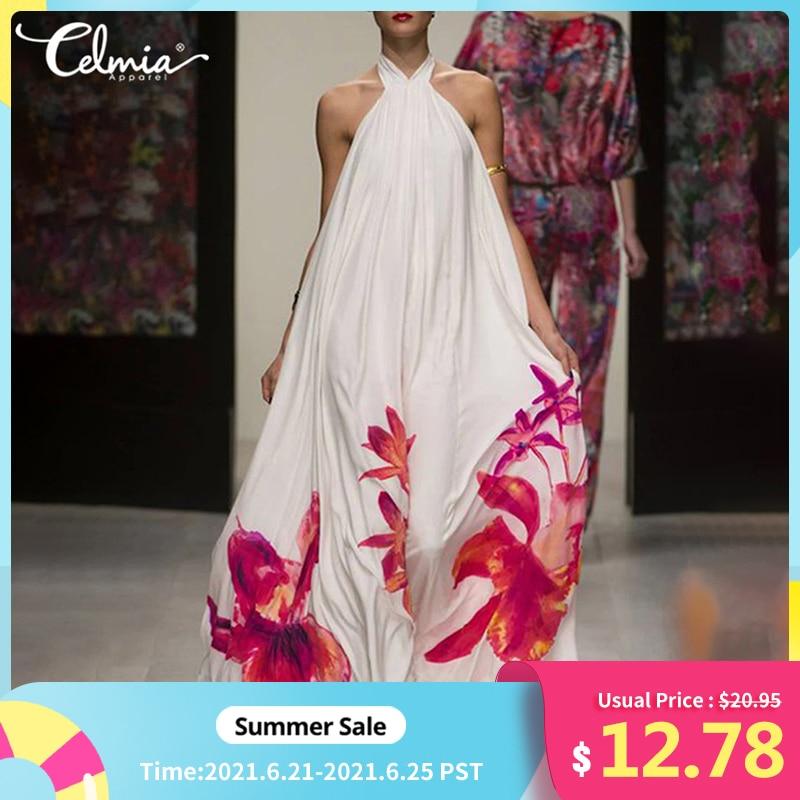 Celmia Summer Women Halter Floral Print Long Dress Casual Sleeveless Ruffle Maxi Sundress Sexy Backless Party Bohemian Vestidos