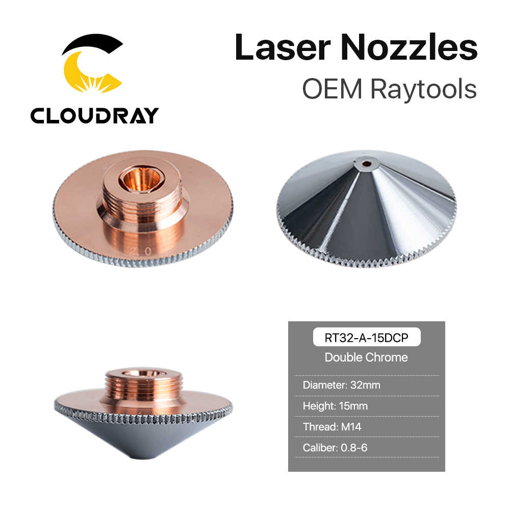 Cloudray Raytools Dia.32mm H15 Cỡ Nòng 0.8-6.0 Đơn/Hai Lớp Hàn Laser Vòi Phun Cho Sợi Cắt Laser CNC máy