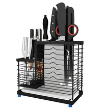 Stainless steel hanging knife rack reinforced chopstick cage fork shelves spoon holder kitchen supplies cutlery organizer chopstick cage kitchen rack wall mounted shelf receives water draining chopstick barrel knife holder kitchen knife holder