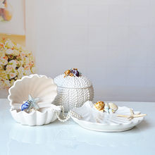 Mediterranean ceramic shell decoration conch coral living room decorations ocean jewelry box white fruit plate crafts