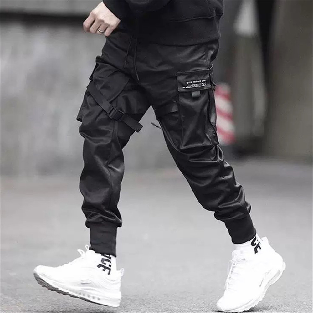 Men Ribbons Color Block Black Pocket Cargo Pants 2019 Harem Joggers Harajuku Sweatpant Hip Hop Trousers Black Street Dance Pant