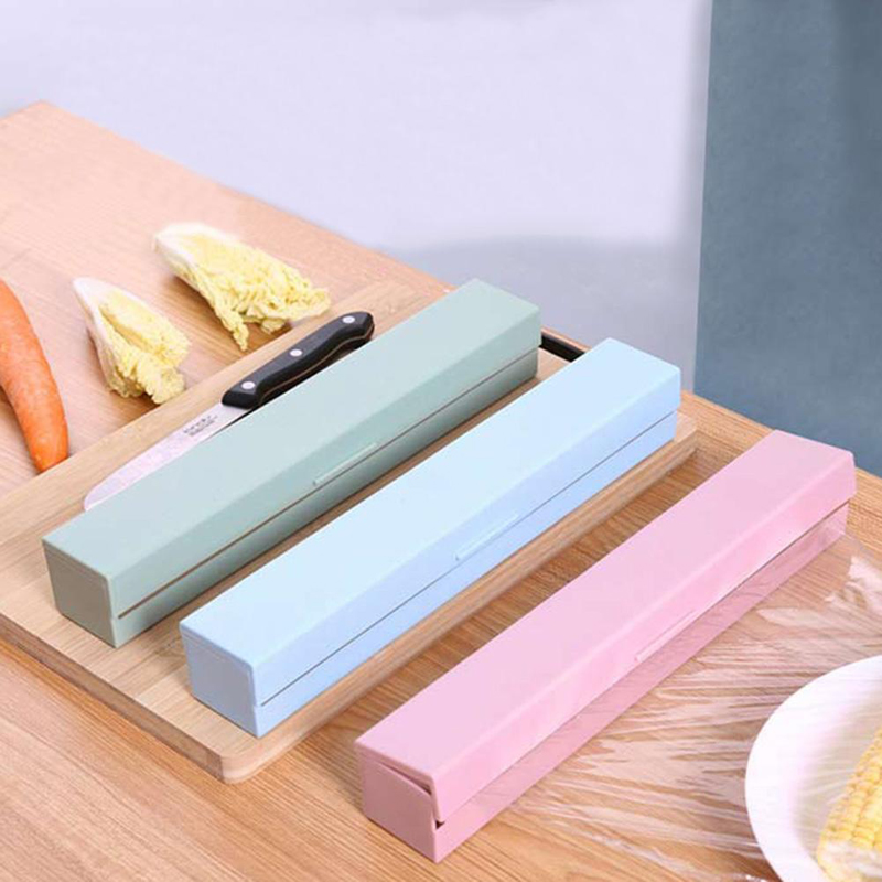 2019 New Plastic Food Wrap Cutter Dispenser Wrap Dispenser Kitchen Cling Preservative Film Cutter Storage Kitchen Accessories