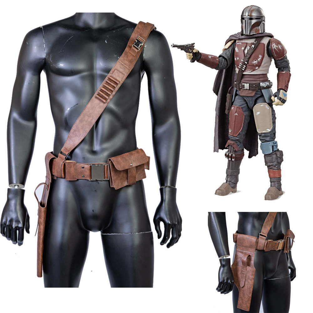 The Mandalorian Leather Belt With Leg Pack Gun Package Men Cosplay Costume Props Star Wars Movie Replica New