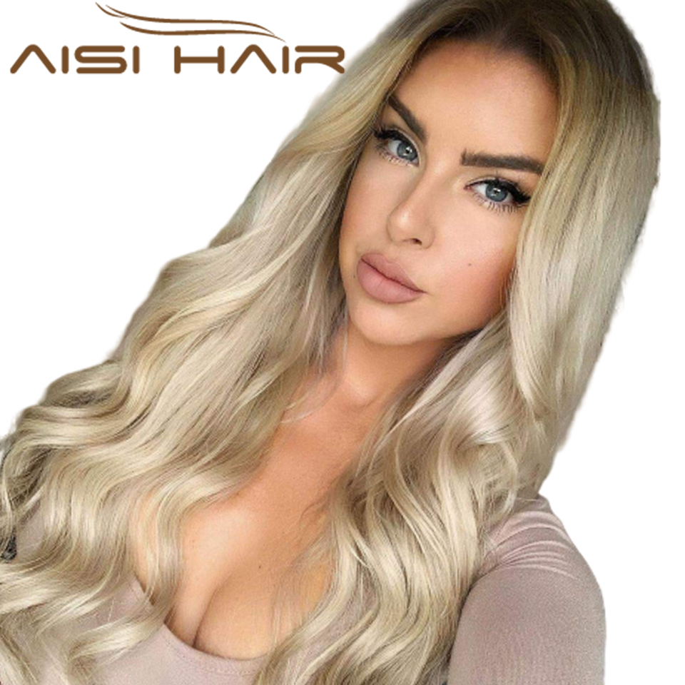 Ombre Blonde Wig Long Wave Wigs Synthetic Middle Part Wigs For Women Girls Lady  Heat Resistant Fiber Aisi Hair