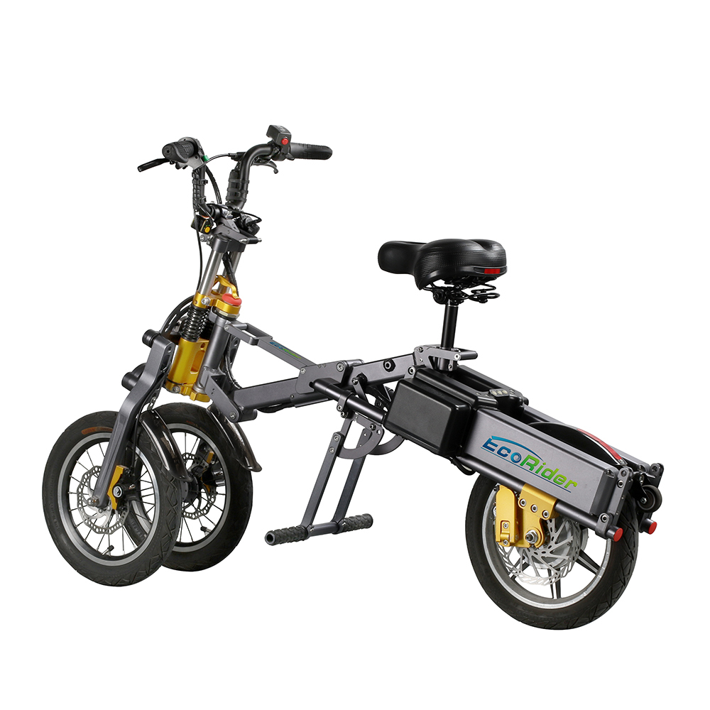 EcoRider E6-7 Cheaper Electric Bike 14 Inch City Road Folding Bicycle 250W 48V Chariot with Lithium Battery 6