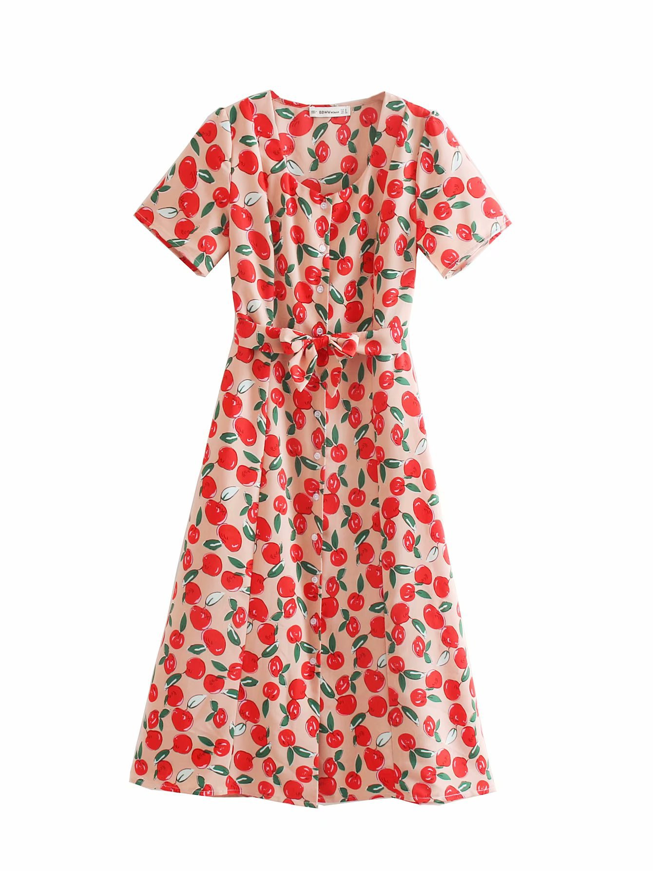 2019 Summer New Style WOMEN'S Dress V-neck Short Sleeve Lace-up Waist Hugging Slimming Single Breasted Fruit Floral Printed Dres