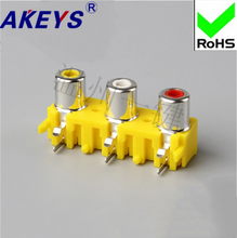 5 pcs AV3-8.4-18 concentric socket 6-foot RCA socket 3/3-hole PCB welded lotus socket yellow-white-red lson abs large pcb test hook clips yellow 5 pcs