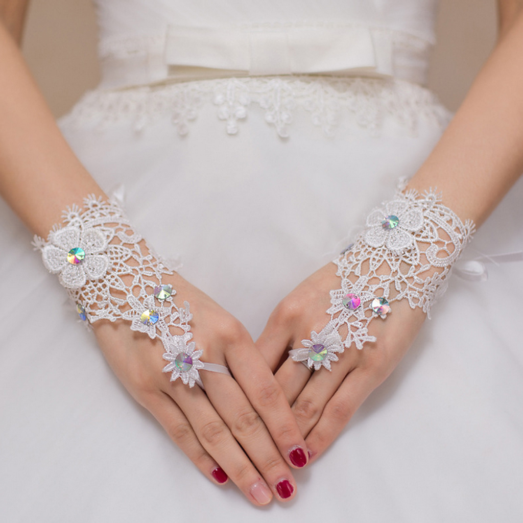 White Lace Bridal Fingerless Ribbons Flower Gloves Wedding Party Costume