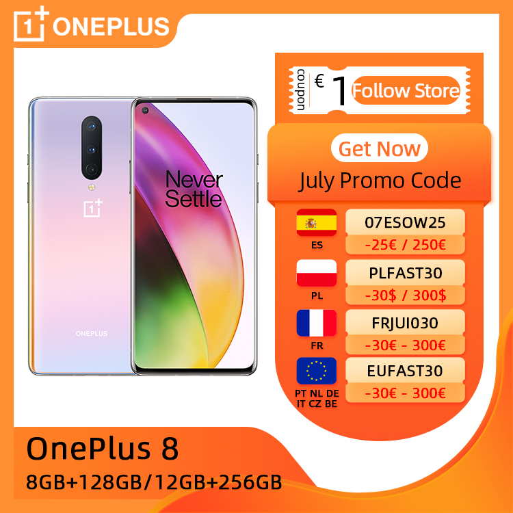 OnePlus 8, ROM Global, 8GB/12GB RAM 128GB/256GB ROM, Snapdragon 865 5G móvil, 6.55'' 90Hz Pantalla, 48MP Cámaras 4300mAh 30W NFC, €30 Code: onceonce30+€4 Cupón tienda+€41 Seleccionar cupón on 11.11 09:00|Teléfonos móviles| - AliExpress