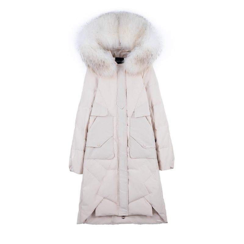 (TopFurMall)European Women Parkas Down Coats Jackets Real Raccoon Fur Hoody  Lady Long Outwear Overcoat LF9162