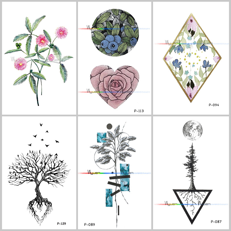 Wyuen Tree Birds Fake Tattoo Flower Temporary Tattoo Stickers for Women Men on Body Art Original Moon Waterproof Tatoos P-129