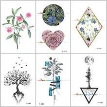 Wyuen Original Design Tree Birds Fake Tattoo Waterproof Temporary Arm Tatoo Stickers For Women Men Body Art Black Tattoos P-129