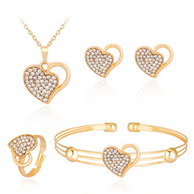 Exquisite fashion jewelry sets, delicate alloy set auger hollow out double heart necklace bracelet earrings ring 4 PCS