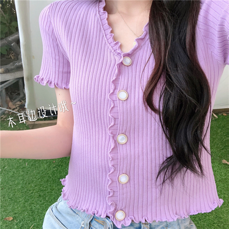 Women V-Neck Knitted Short Sleeve Thin Buttons Slim Ruched Sweaters Cardigans Lady Single-breasted Sweater Crop Tops For Female