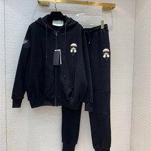 【Hsy】2019осенние Новые Женские ветрозащитные куртки на молнии эластичные закрытые ноги брюки вышитые черные спортивные костюмы Спортивная одежда
