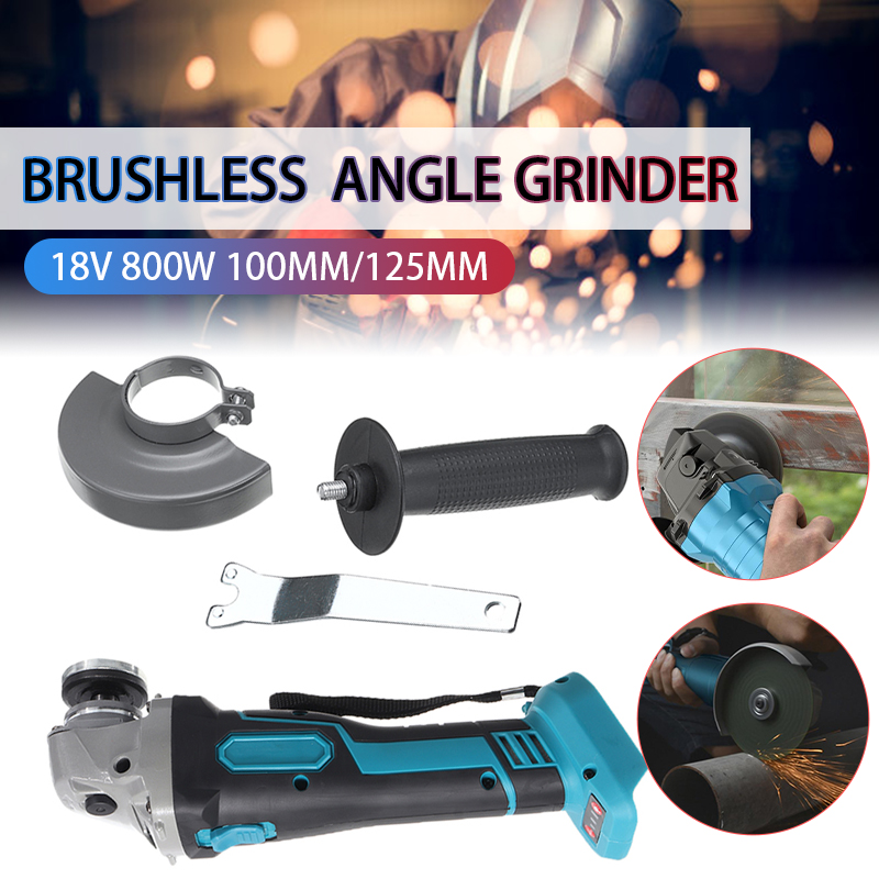 800W 18V 100mm 125mm Brushless Cordless Impact Angle Grinder DIY Power Tool Cutting Machine Polisher Without For Makita Battery