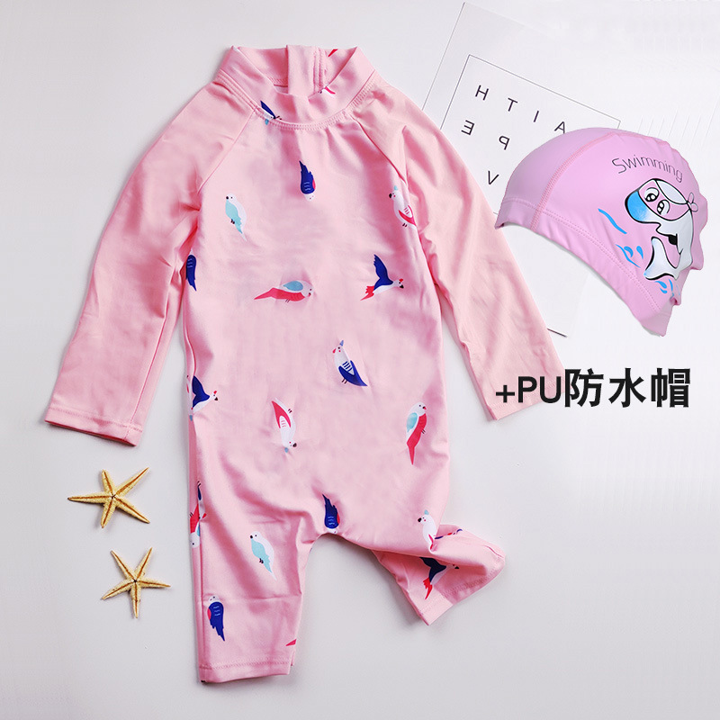 Bathing Suit Sun-resistant Baby Children Long Sleeve GIRL'S One-piece Swimsuit 0-1-2-3-4-6-Year-Old CHILDREN'S Infant Travel Bab