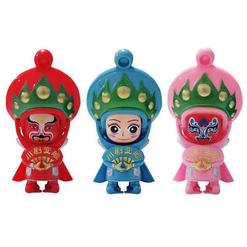 Face-changing Peking Opera Doll Folk Craft Sichuan Opera Doll Keychain Action Mini Doll Toy Gift. image