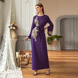 Image 2 - Abaya dubai turquia muçulmano hijab vestido kaftan americano islâmico roupas abayas vestidos para mulheres robe musulman femme vestidos