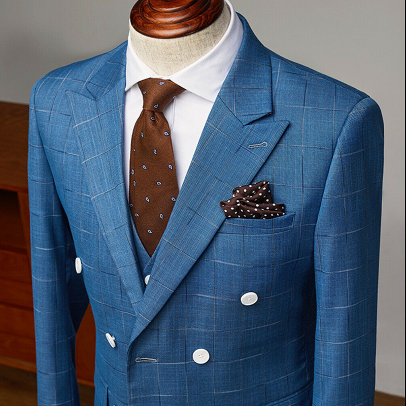 2020 Blue Windowpane Wool Feel Peak Lapel Wedding Groom Tuxedos Slim 3 Pieces Men's Formal Wear