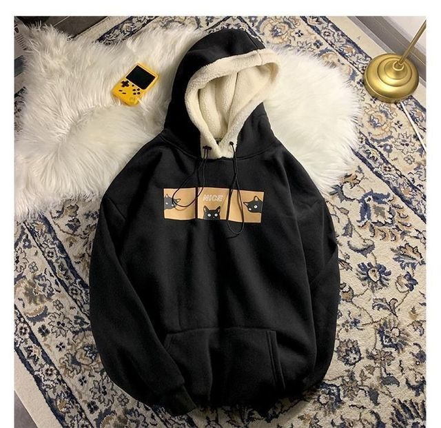 Autumn and Winter Lamb Plush Thickened Warm Hoodie Loose Solid Color Couple Pullover 2021 New Fashion Casual Coat 2