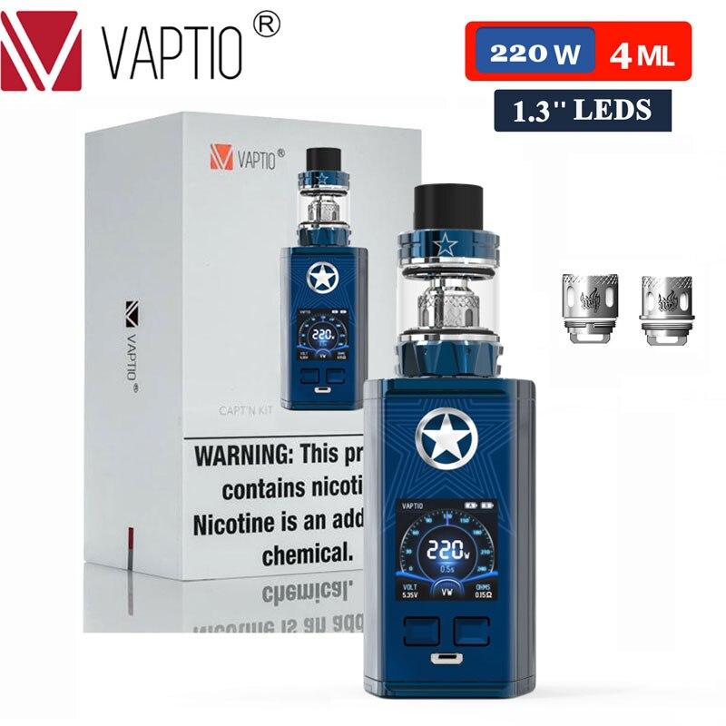 [Dernières 2 heures de ventes] Kit de Vape VAPTIO CAPT'N 220W Vape Kit Cigarettes électroniques 2.0 ml/4 ml atomiseur 510 fil Mod pas de batterie