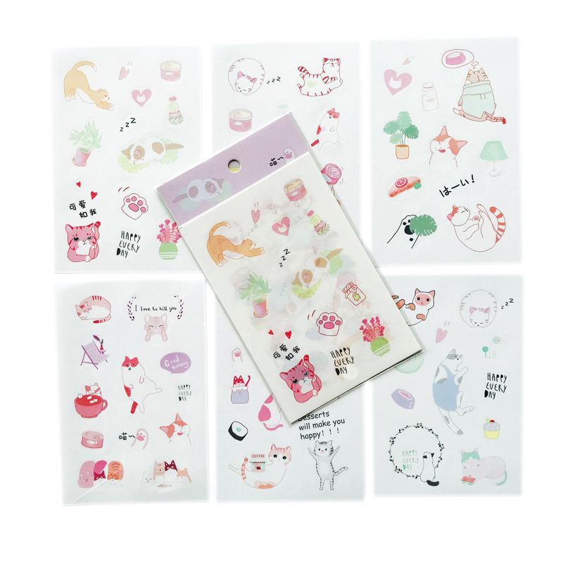6 Sheets/Pack Cute Cartoon Cat's Daily Life Stickers Hand Account Decor Decorative Album Diary Stick Label Kids Gift