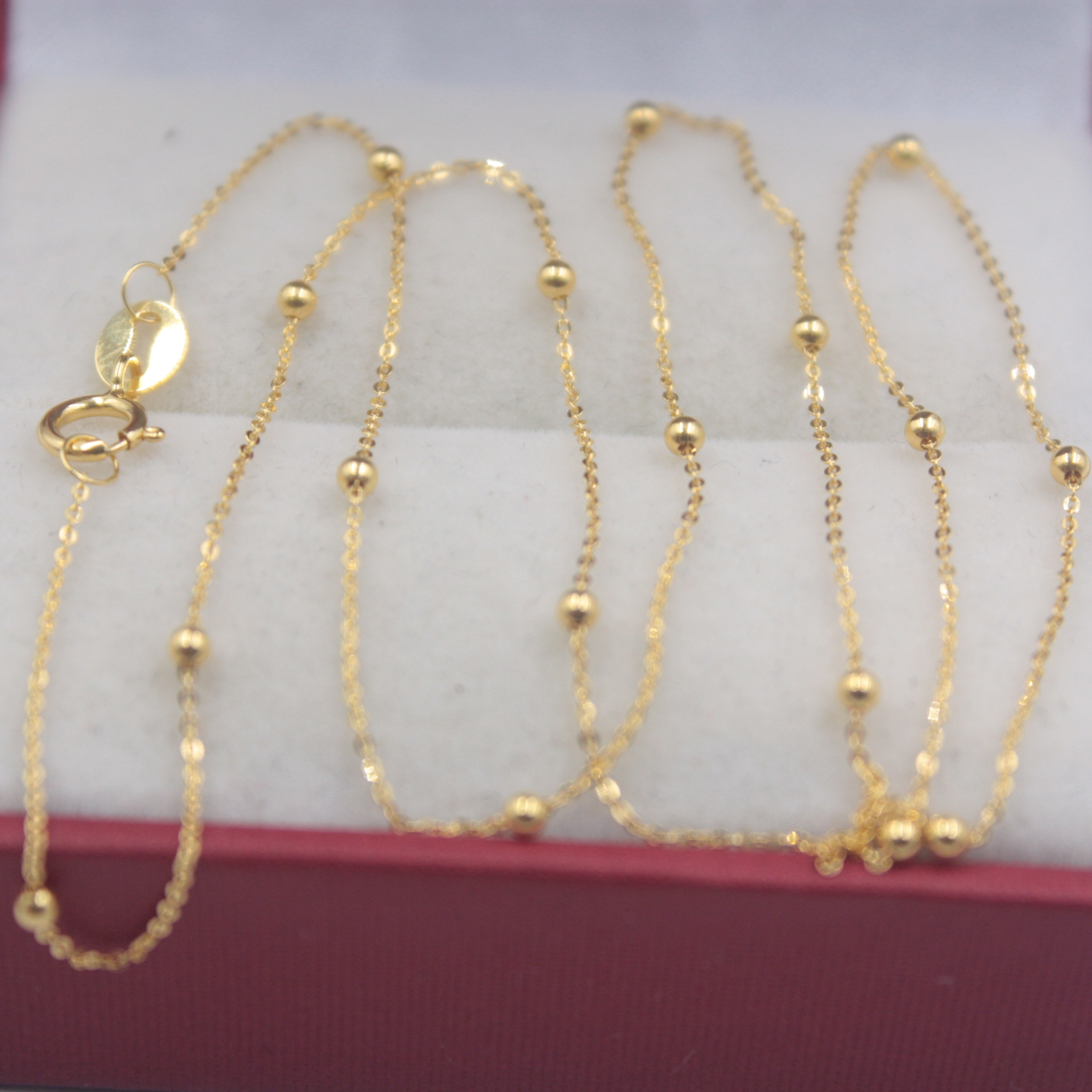 Real Pure 18K Yellow Gold Chain 1.5mmW Bead O Rolo Link Women's Wife Wealthy Best Gift Necklace Friend Gift Female Girl Chain image