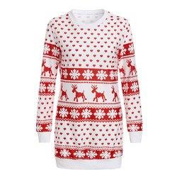 Sagace Clothes Winter Christmas Dress Women O Neck Cotton Dress Ladies Long Sleeve Sweetly Snowflake Printed Red Xmas Dress 4