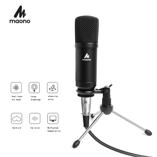 MAONO Condenser Podcast Microphone 3.5mm Cardioid Computer Mic With Tripod Stand for YouTube Skype Broadcasting Recording A03TR