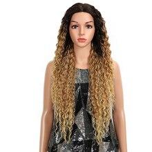 Волшебные волосы кудрявые бесклеевые высокотемпературные волокна волос 32 дюйма натуральные светлые синтетические парики на кружеве для черных женщин