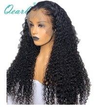 """250% 400% 밀도 인간의 머리카락 가발 흑인 여성을위한 말레이시아 곱슬 레미 헤어 레이스 프론트 가발 pre plucked 13x4 28 """"30"""" 32 """"qearl"""