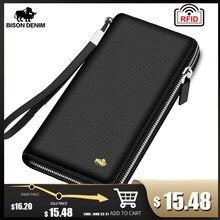BISON DENIM marka hakiki deri cüzdan RFID engelleme el çantası cüzdan kart tutucu bozuk para cüzdanı fermuar erkek uzun cüzdan N8195
