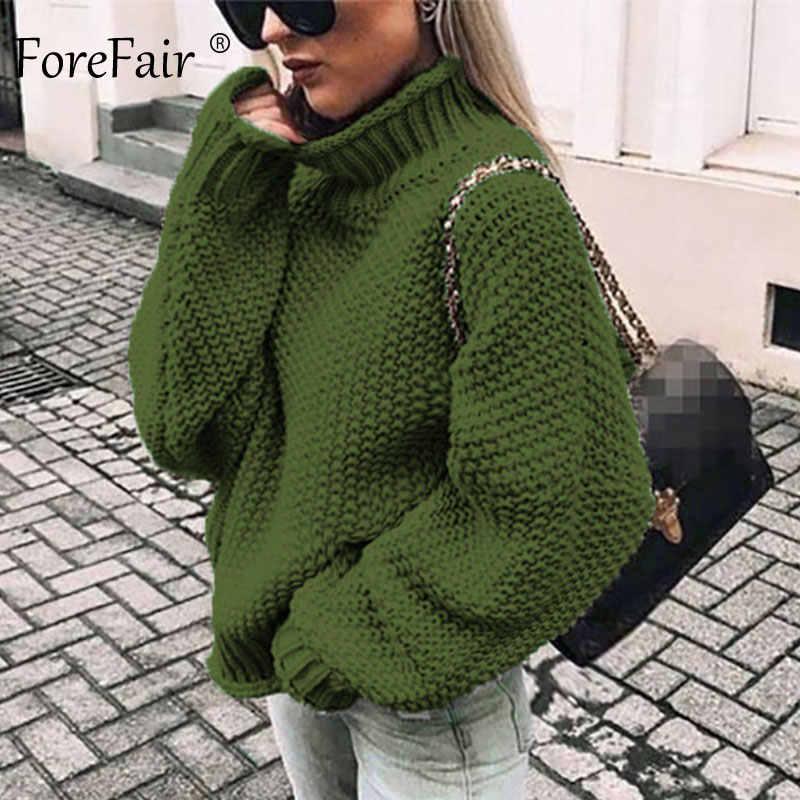 Forefair特大タートルネックニットセーター冬ニットプラスサイズスリム固体緑オレンジ白暖かいカジュアルなセーターの女性