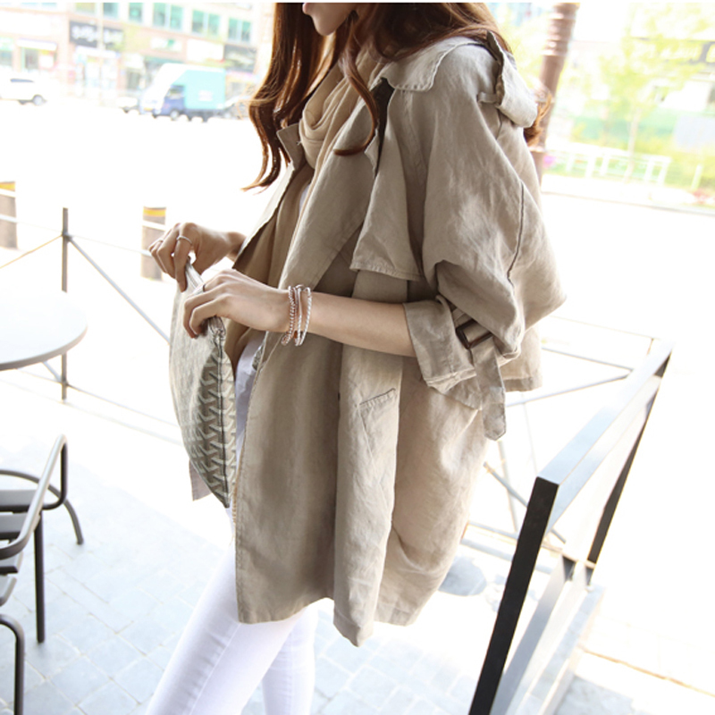 2020 Spring New Korean Version Of The Seven-point Sleeves Loose Spring Autumn Thin Windbreaker Trench Coat Women Moda Mujer