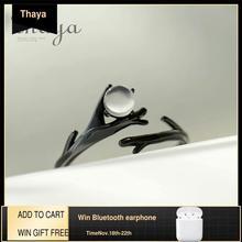 Thaya Anillo de plata de primera ley con diseño de bosque para mujer, sortija, plata esterlina 925, piedra lunar, rama negra, elegante