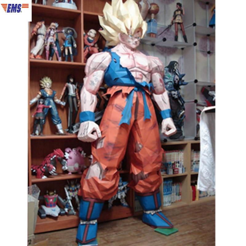 175CM Dragon Ball Z Super Saiyan Son Goku Paper Model DIY Assembling Toys Statue Action Figure Collection Model Toy X2718