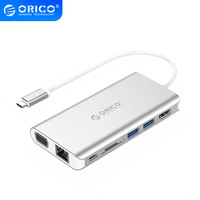 ORICO USB C HUB Type C to USB3.0 Hub HDMI RJ4 SD Audio Adapter with Type C Charging Ports for S9 Note 8 Huawei P20 MacBook Pro