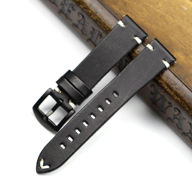 Image 5 - Handmade 20mm 22mm Balck with Black White Red stitches Cowhide Genuine leather Watchband For Mido DW Casual Watch Strap Belt-in Watchbands from Watches