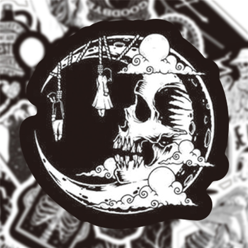 Three Ratels 50 Pcs Black And White Gothic Style Girl And Skull Stickers Graffiti Sticker For Laptop Luggage Car Styling Guitar