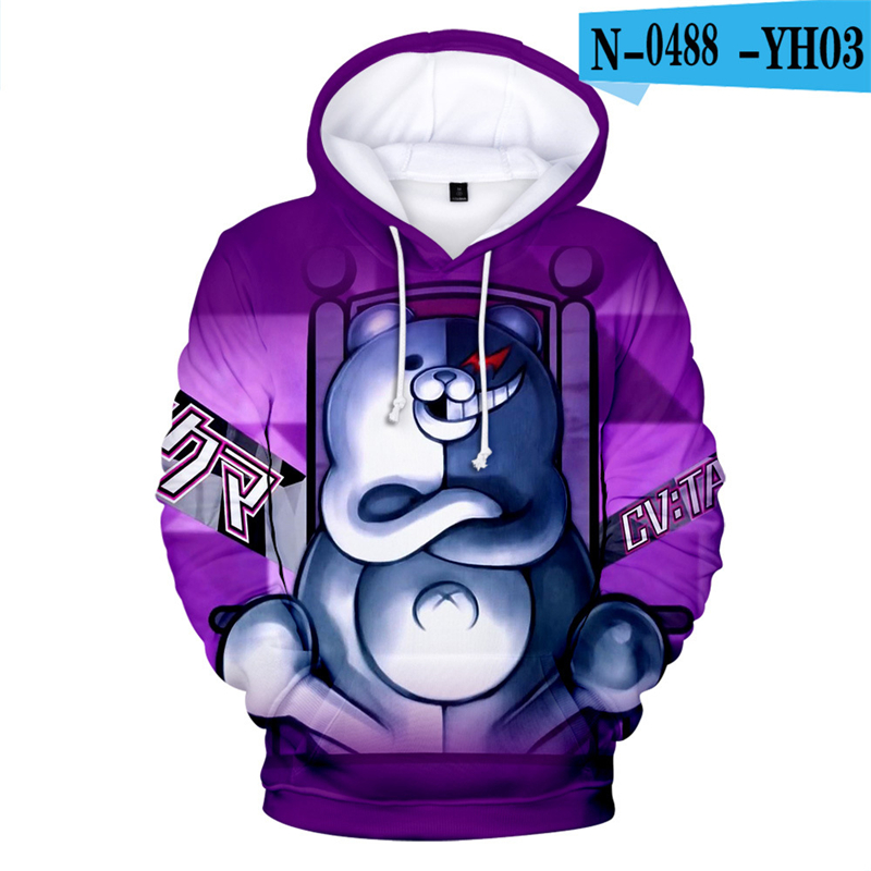 Moletom  Anime Hoodies Danganronpa Hoodie Sweatshirt Long Sleeve 3d Printed Game Clothes  Black White Bear Monokuma Oversized 4