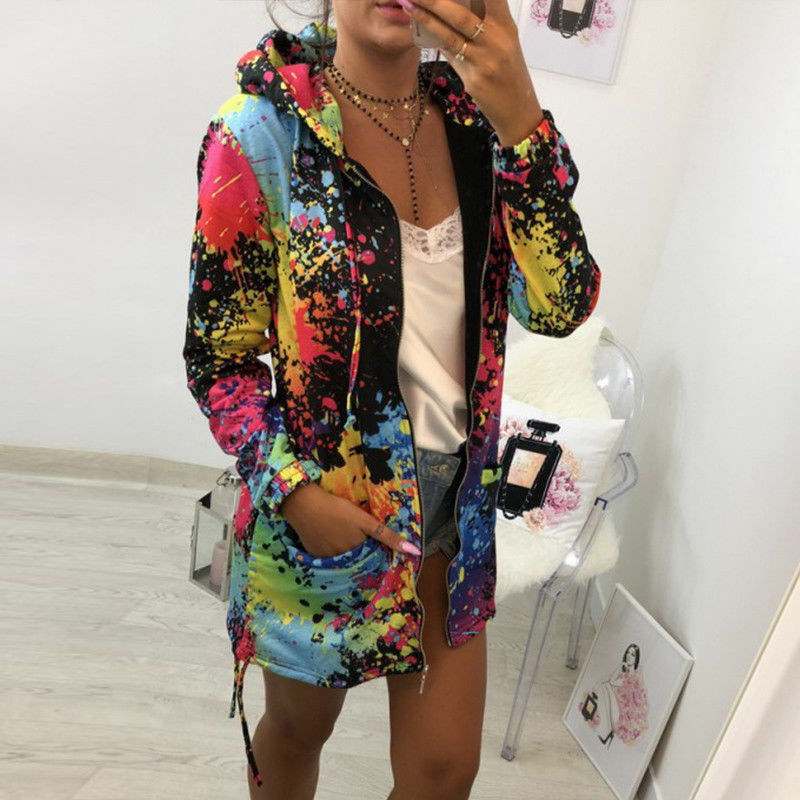 Women Spring Autumn Trench and Waterproof Casual Colorful Color Hooded Windbreaker Long Sleeve Cardigan trench coat for women
